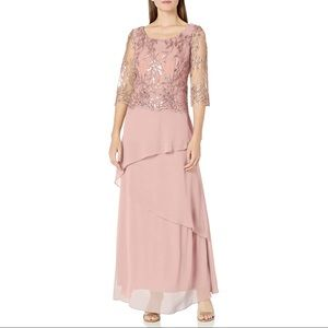 Maya Brooke embroidered sequined evening gown